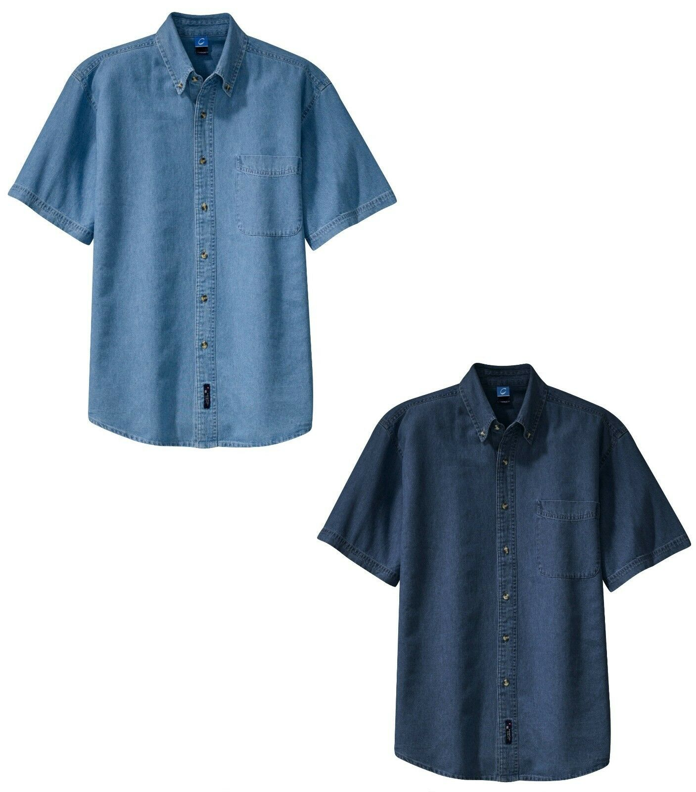 Men 39 S Denim Shirt Button Down Short Sleeve Pocket Tail