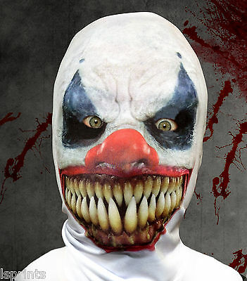 Scary Demon Clown Design 3D Effect Face Skin Lycra Fabric Face Mask Halloween - Scarey Clown Face