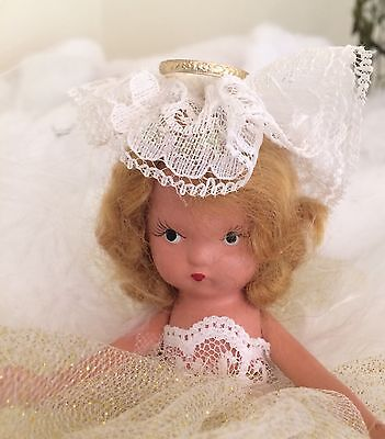Nancy Ann Storybook OOAK Doll Angel Bisque 6in Christmas Ornament Winter Decor (Storybook Decorations)