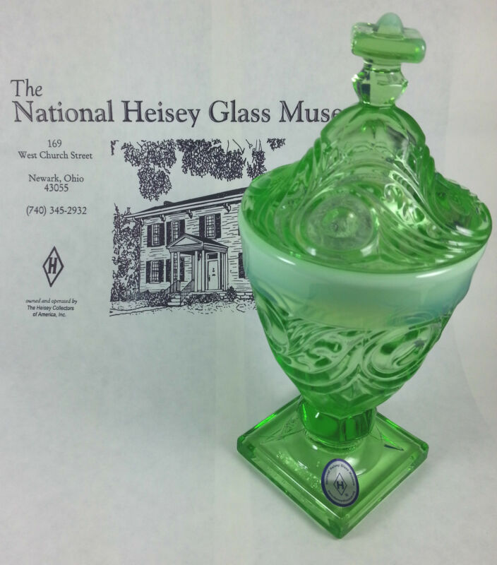 Heisey by Mosser Ipswich 1/4lb Candy Jar Green Opalescence