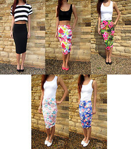 LONG-Tall-Jersey-Tube-Skirt-Midi-Length-Plain-or-Print
