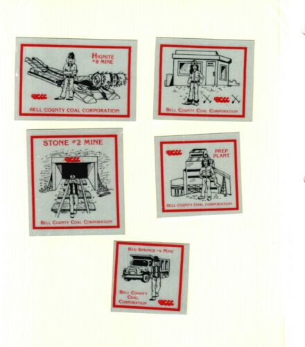 NICE LOT OF 5 DIFFERENT BELL COUNTY COAL CO. COAL MINING STICKERS # 85
