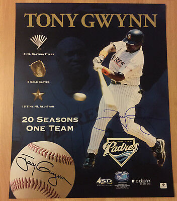 TONY GWYNN SIGNED AUTOGRAPHED 16X20 POSTER PHOTO HOF SAN DIEGO PADRES GLOBAL COA Tony Gwynn Autographed 16x20 Photograph