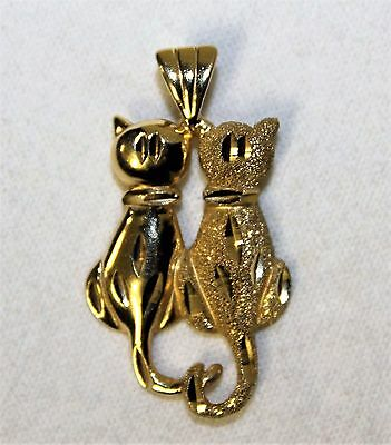 14k Gold JMD Two Cats Pendant Charm - 3.5 Grams