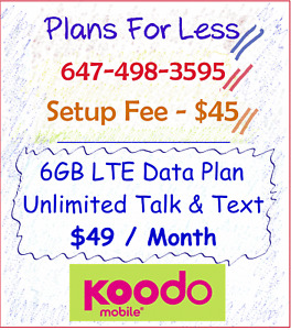 Koodo $49 6GB LTE data plan unlimited talk/text - Plans For Less