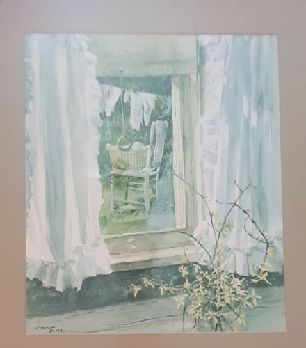 Wash Day Window View Watercolor by Carolyn Blish FRAMED PRINT SIGNED FLORAL