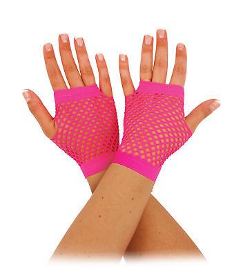 Kurz Neon Pink Fischnetz Handschuhe - Fingerlos Kostüm Party Zubehör Spitze