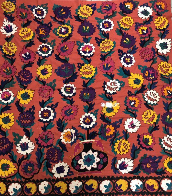 CHARMING UZBEK HANDMADE SILK EMBROIDERY SUZANI FROM Samarqand (1880) Old Dirty