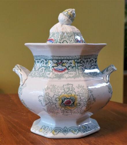 Superb Antique Ironstone Transferware Sugar Bowl Morley Zamara Staffordshire