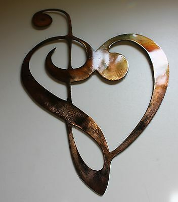 METAL WALL ART DECOR MUSIC HEART NOTES MUSICAL CLEF Mini Version Copper