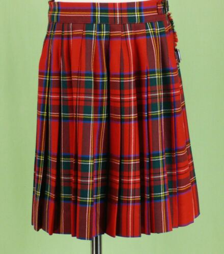 243 Best & Co girl WOOL pleated wrap skirt holiday plaid check EUC Size 8