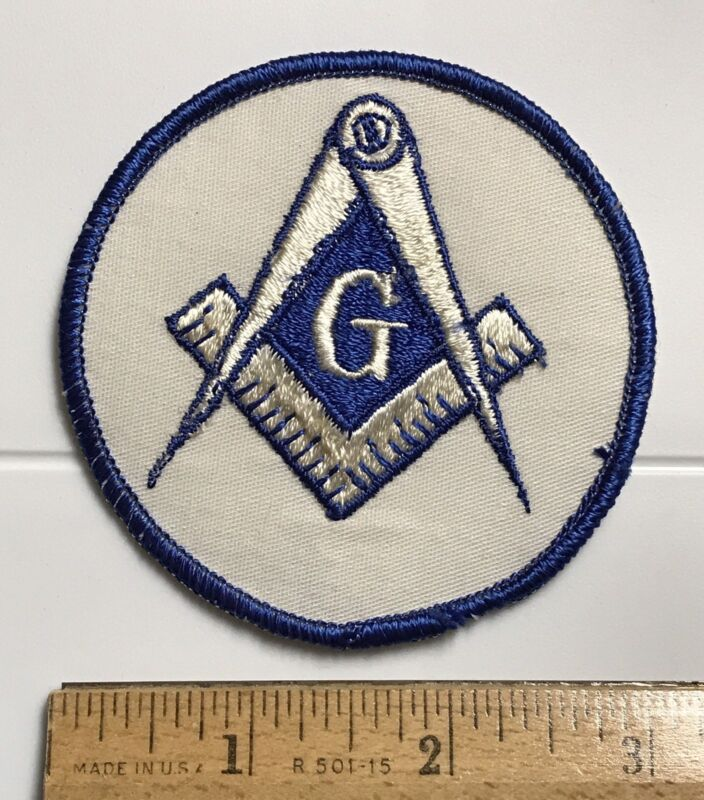 Order of Freemasons Masonic Square Compass Logo Blue White Embroidered Patch
