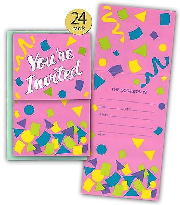 Neon Fill In Style Invitations, Various Occasions, Pack of 24 with Envelopes](Neon Invitations)