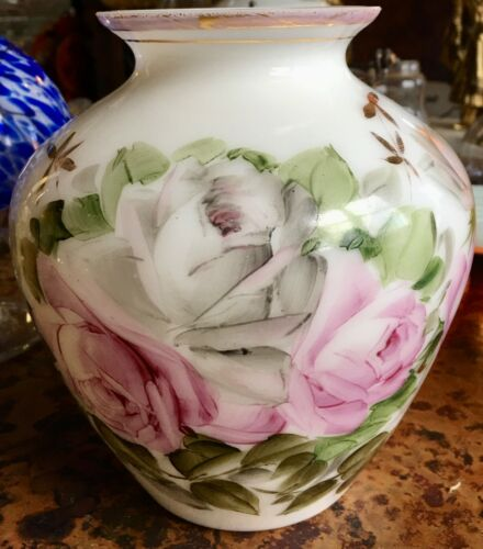 """Vintage Phoenix Consolidated Milk Glass Vase Hand Painted Roses Gold Accents  6"""""""