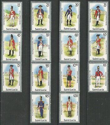 ST LUCIA BARGAIN LOT 1985 VALUE $65+ MILITARY UNIFORMS SHORT SET MNH 0870