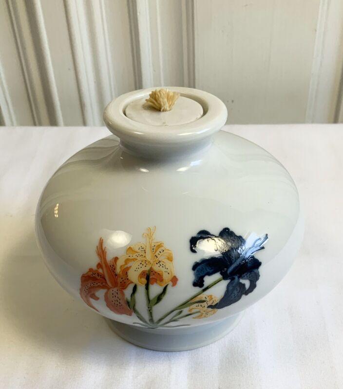 Wicks n Sticks 1983 Japan Porcelain  Japan Fragrance Oil Lamp Floral Flowers