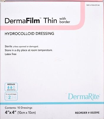 Dermafilm Thin Hydrocolloid Dressing 4x4 Medium Absorb 00259e Stage 2 New