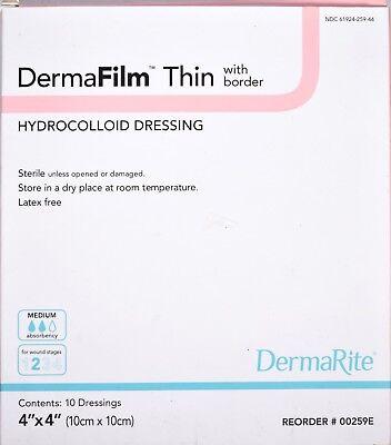 Dermafilm Thin Hydrocolloid Dressing 4x4 Medium Absorb 00259e Stage 2 New