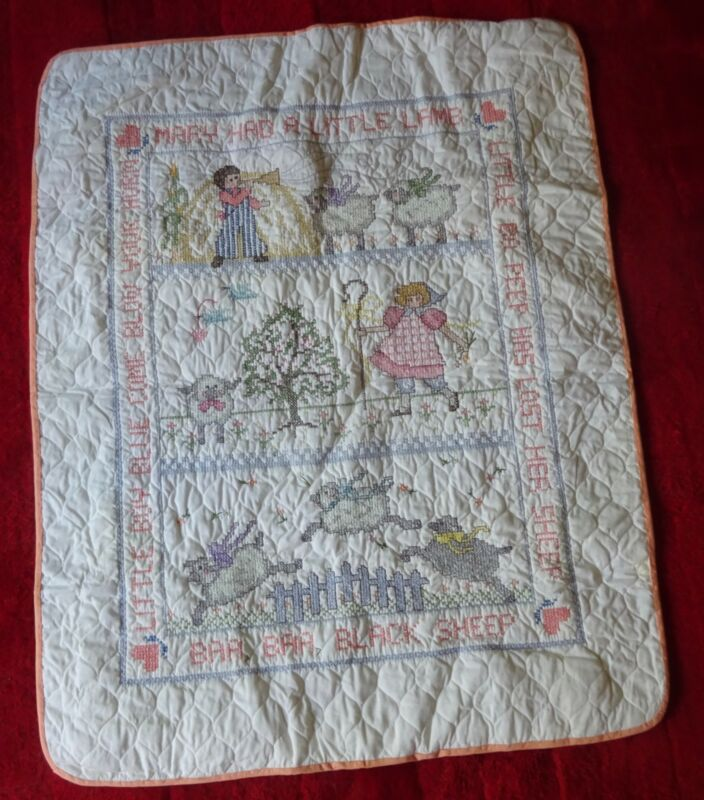 Completed Mary Had a Little Lamb Cross Stitch Baby Crib Quilt Baa Black Sheep