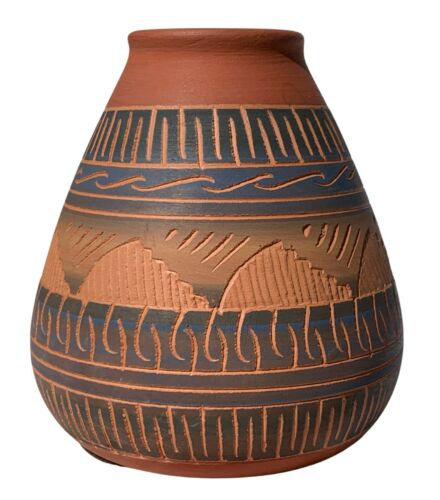 Navajo Pottery Signed by Artist Etched Blue and Green Tones Vintage