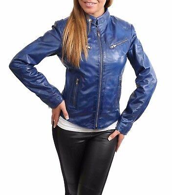 Womens biker real leather jacket BLUE slim fit zip up best TOP QUALITY coat