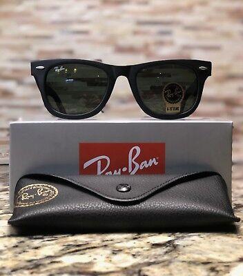 Ray-Ban Wayfarer Sunglasses RB2140 901S 50mm Matte Black Frame/G-15 Green Lens!!