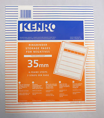 Kenro Negative File Storage Pages 35mm Negative Translucent Page Pack of 25