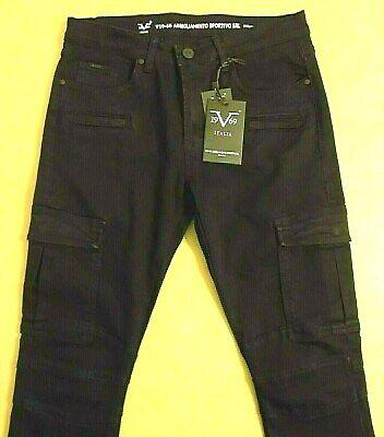 Versace V 19 69 Italia Slim Skinny Cargo Jeans Men 34 W 32 L 1969 Black 19V69