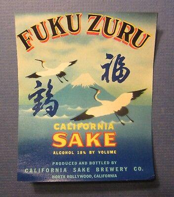 Old Vintage 1940's FUKU ZURU California SAKE BREWERY Co. LABEL - North Hollywood - Old Sake Labels