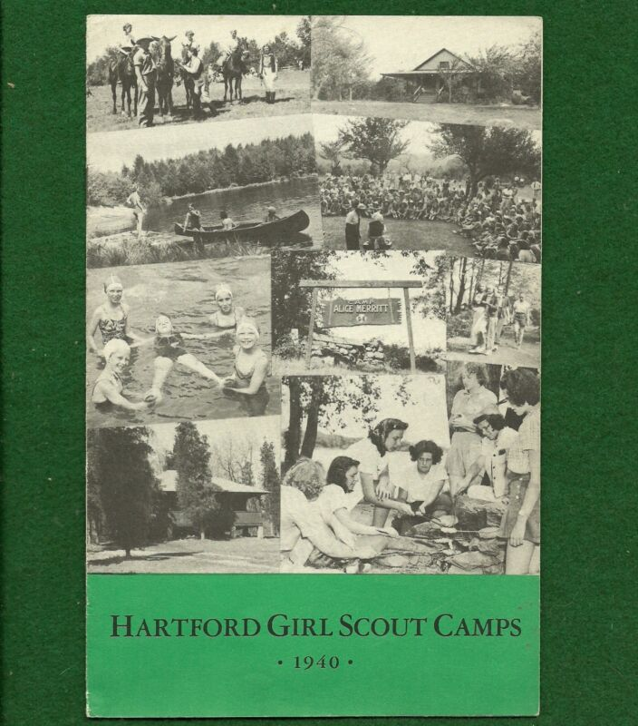 VINTAGE  GIRL SCOUT - 1940 HARTFORD GIRL SCOUT CAMPS BROCHURE  - FREE SHIPPING