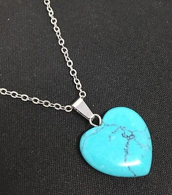 Sterling Silver Natural Turquoise Marcasite Teardrop Heart Pendant Necklace