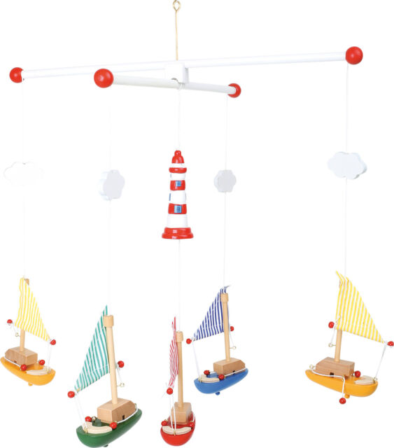 Wooden Sailboats & Lighthouse Hanging Nursery Bedroom Ceiling  Mobile 7205