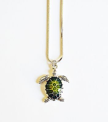 New Silver Sea Turtle Charm Cute Pendant Necklace - Turtle Necklaces