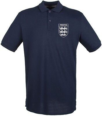 Mens North End (Preston North End   3 Lions Club And Country Small Crest Polo Mens)