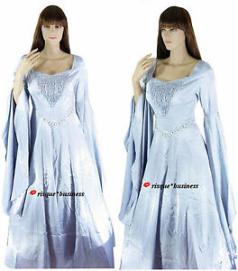 Medieval-Silver-Arwen-Guinevere-Princess-Fancy-Dress-Gown-Costume-10-12-14-16-18