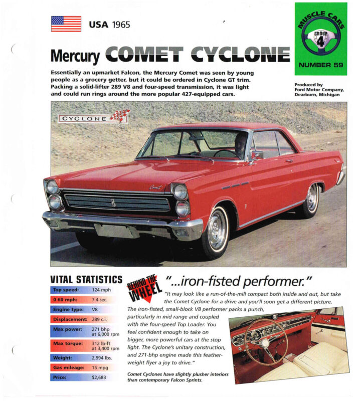 1965 Comet Cyclone: Parts & Accessories   eBay
