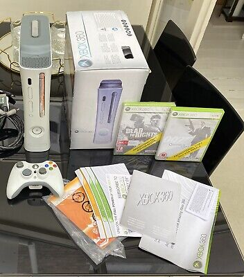 XBOX 360 PRO Console White with games, box, extra HDMI CABLE. Free collection