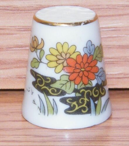 Unbranded Orange Yellow Blue Flower Ceramic Collectible Souvenir Thimble!