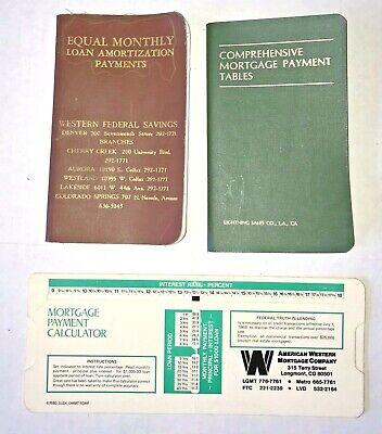 Vtg 1960 & '81 Mortgage Payment Tables Booklets '80 Paper Calculator Slide Rule
