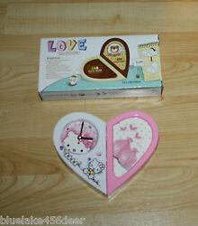 Hello Kitty Alarm Clock w Photo Holder  Changeable Heart Shaped to Oblong  NIB
