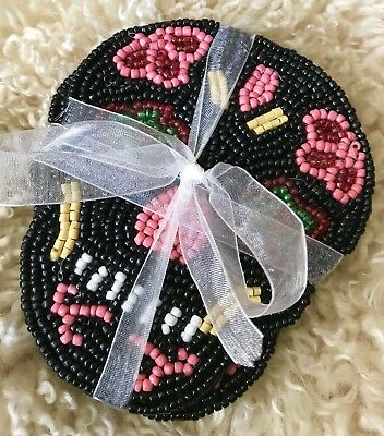 BRAND NEW 4 PC SET HALLOWEEN DAY OF THE DEATH SUGAR SKULLS BEADED COASTERS - Halloween 4 Deaths