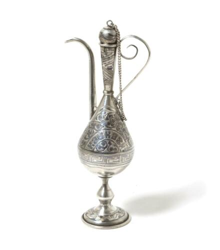 """Decorative silver jug (pitcher) """"Caucasus"""". Niello. Russia, Kiev, the 1908-1917"""