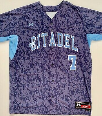 NEW Citadel Bulldogs Under Armour Blue Camo Stitched Baseball Jersey Large NCAA