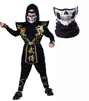 Boys Childs Black Gold Ninja Halloween Zombie Skull Mask Fancy Dress - Ninja Boy Child Kostüm