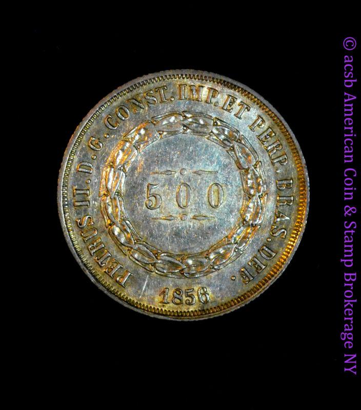 Brazil 500 Reis 1856 / 5 AU Details silver KM# 464 Proof Like Overdate Error