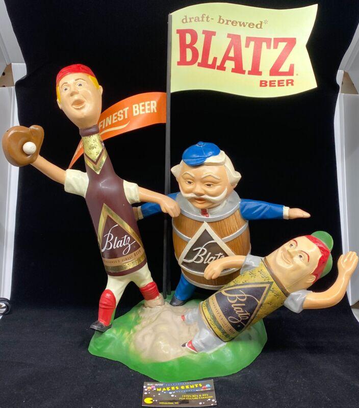 1950's Vintage Blatz Beer Bar Aluminum Statue Baseball Safe At Home Sign - Repro