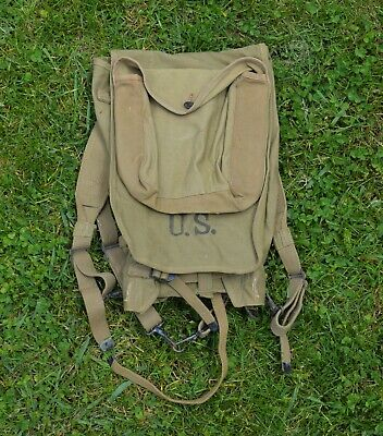 WWII Haversack Backpack US Army Issue w/ Meatcan Mess Kit Pouch 1942 WWll