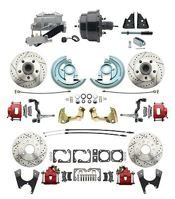 1964 72 A Body All Wheel Performance Disc Brake Conversion Kit w Red Calipers