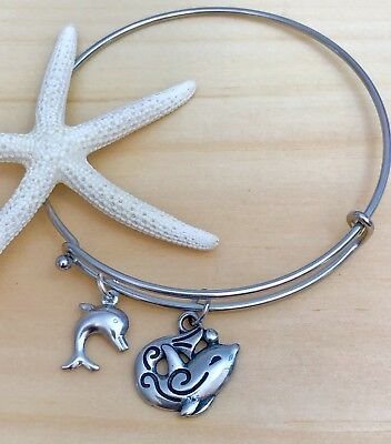 Styled Dolphin Charm (Dolphins & Heart Stainless Steel charms Open Style Expandable Bangle)