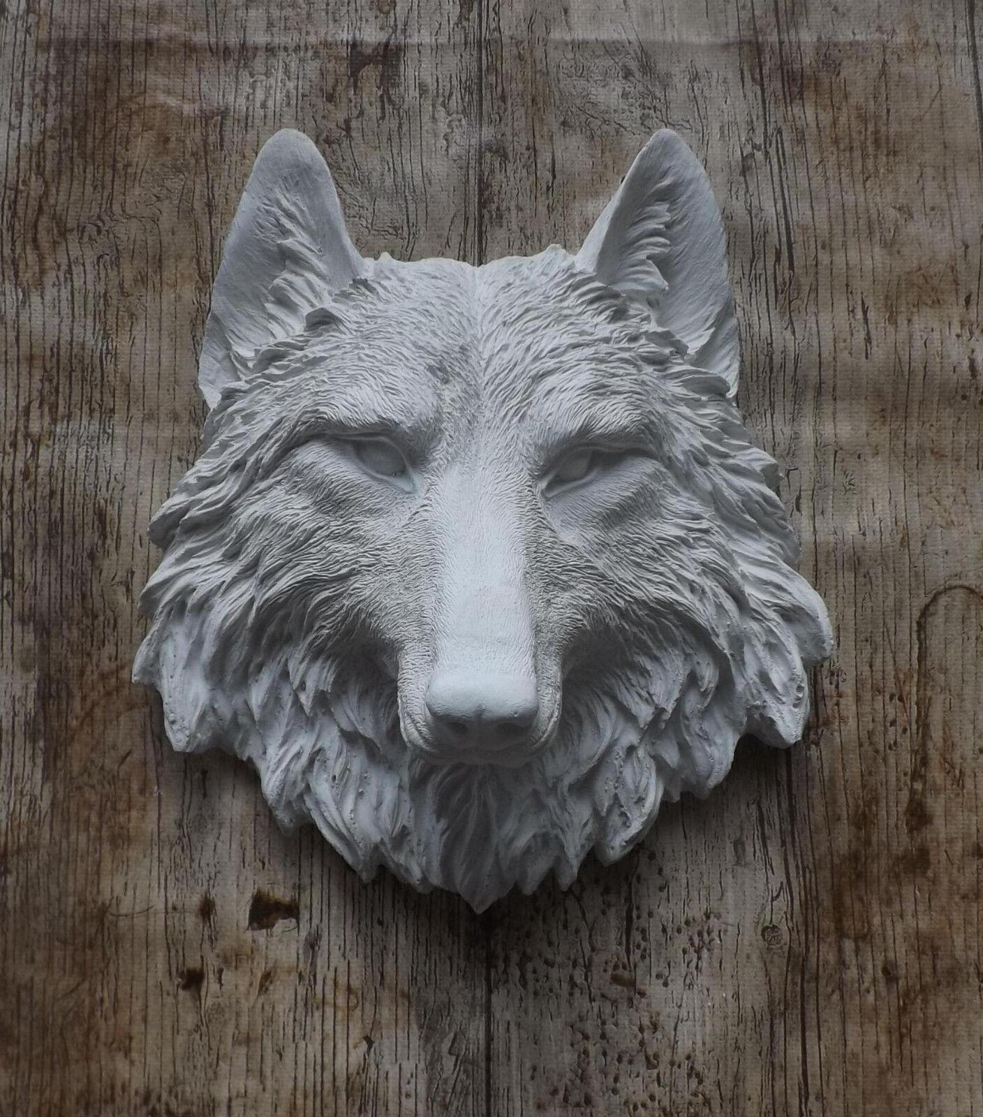 GF01 Wolf Steinfigur Gartenfiguren Relief Wolfskopf Gartendeko Wandrelief